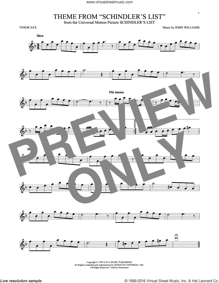 Theme From Schindler's List sheet music for tenor saxophone solo by John Williams, intermediate skill level