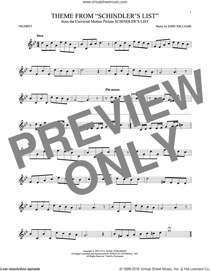 Theme From Schindler's List sheet music for trumpet solo by John Williams, intermediate skill level
