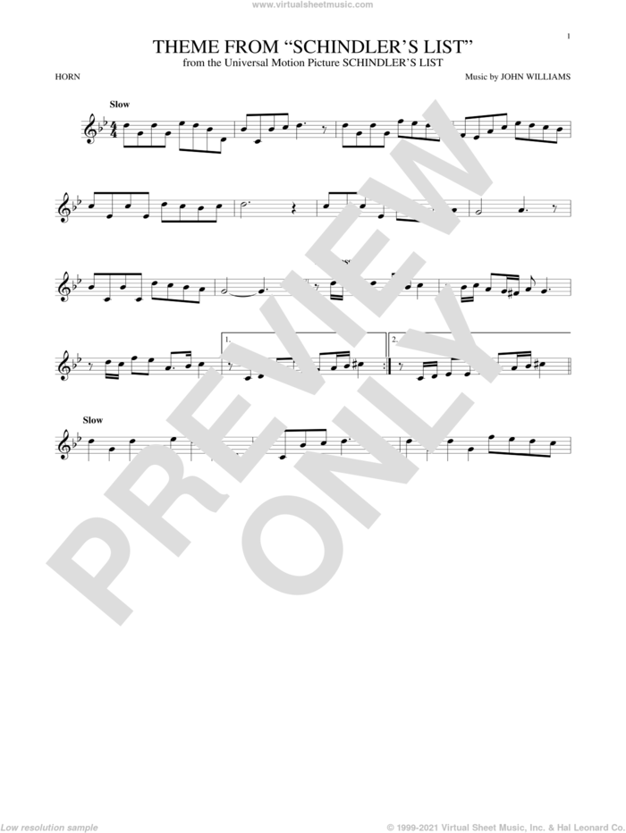 Theme From Schindler's List sheet music for horn solo by John Williams, intermediate skill level