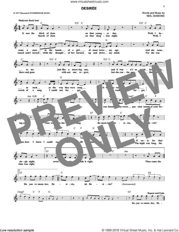 Desiree sheet music for voice and other instruments (fake book) by Neil Diamond, intermediate skill level