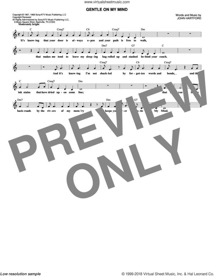 Gentle On My Mind sheet music for voice and other instruments (fake book) by Glen Campbell and John Hartford, intermediate skill level