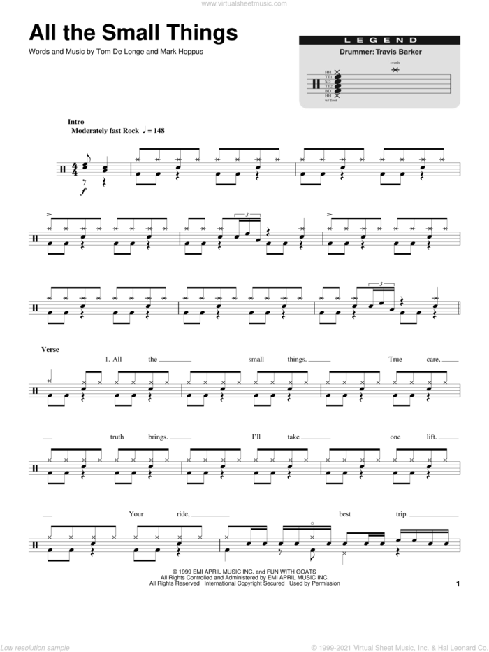 All The Small Things sheet music for drums by Blink 182, Mark Hoppus, Tom DeLonge and Travis Barker, intermediate skill level