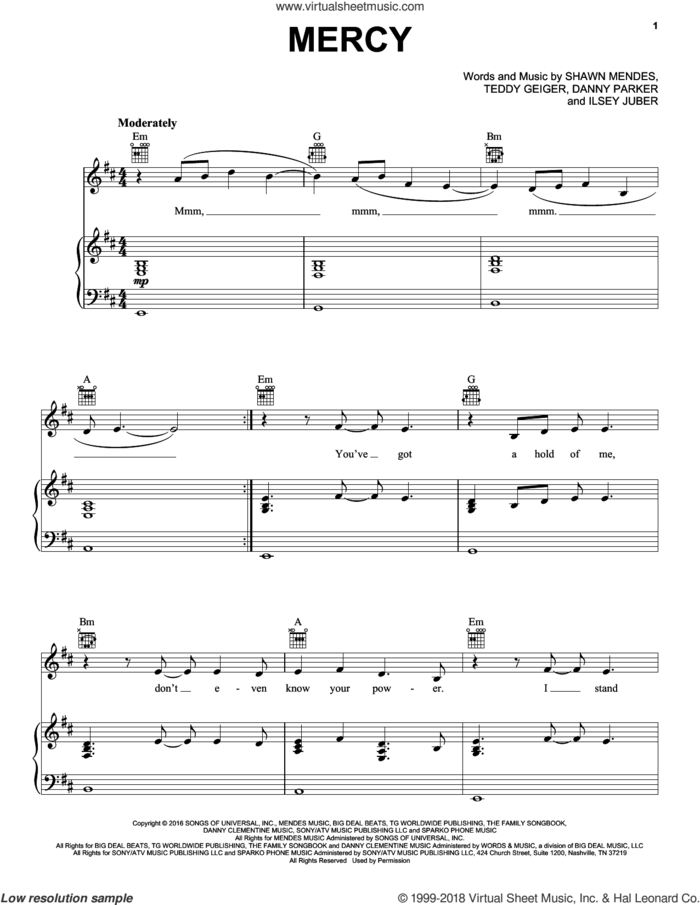 Mercy sheet music for voice, piano or guitar by Shawn Mendes, Danny Parker, Isley Juber and Teddy Geiger, intermediate skill level