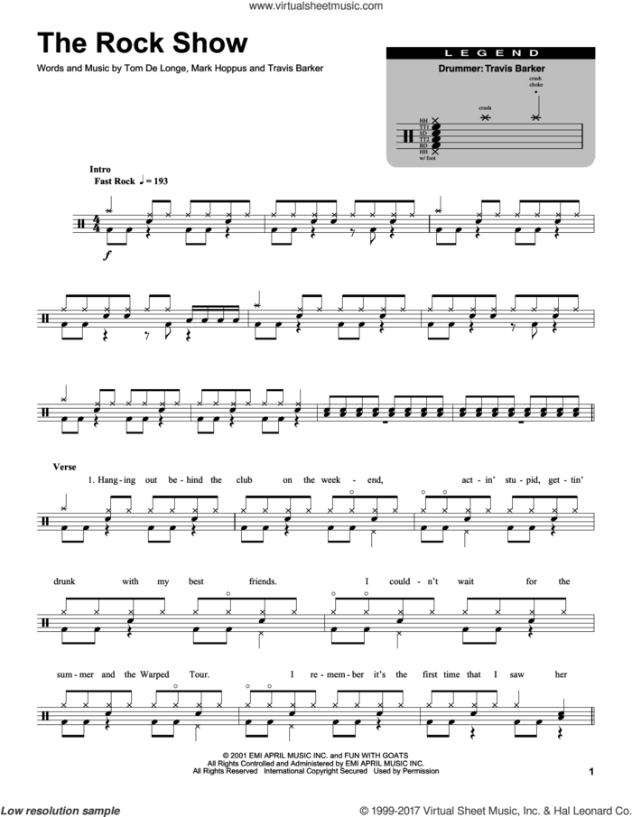 The Rock Show sheet music for drums by Blink 182, Mark Hoppus, Tom DeLonge and Travis Barker, intermediate skill level
