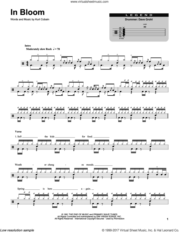 In Bloom sheet music for drums by Nirvana and Kurt Cobain, intermediate skill level