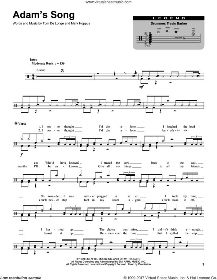Adam's Song sheet music for drums by Blink 182, Mark Hoppus and Tom DeLonge, intermediate skill level