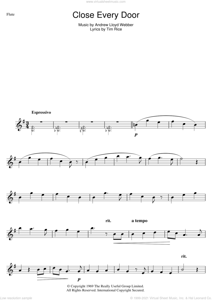 Close Every Door (from Joseph And The Amazing Technicolor Dreamcoat) sheet music for flute solo by Andrew Lloyd Webber and Tim Rice, intermediate skill level