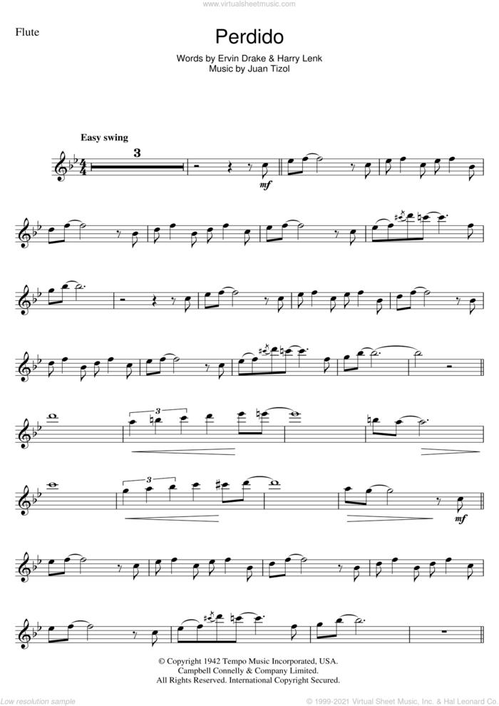 Perdido sheet music for flute solo by Duke Ellington, Ervin Drake, Harry Lenk and Juan Tizol, intermediate skill level