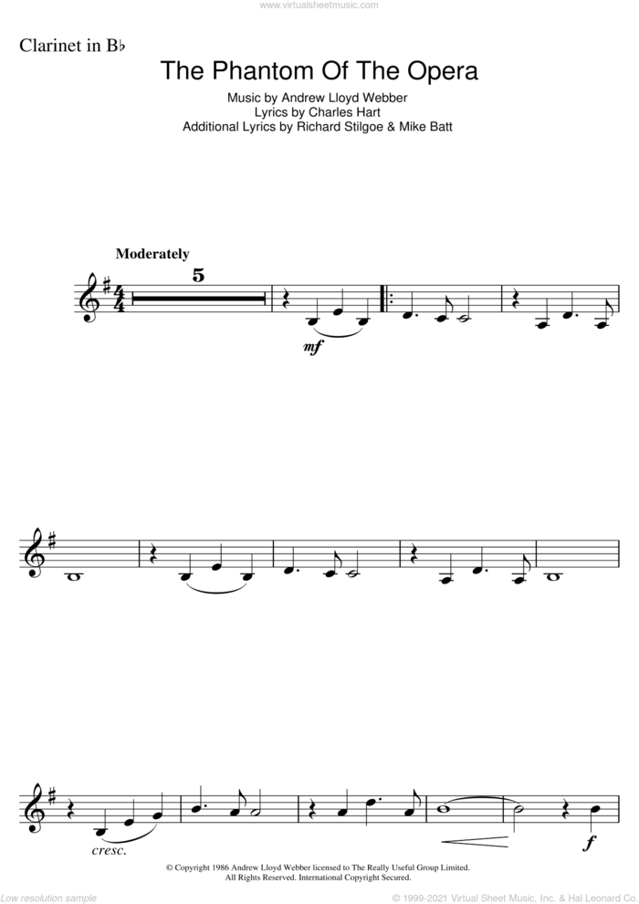 The Phantom Of The Opera sheet music for clarinet solo by Andrew Lloyd Webber and Charles Hart, intermediate skill level