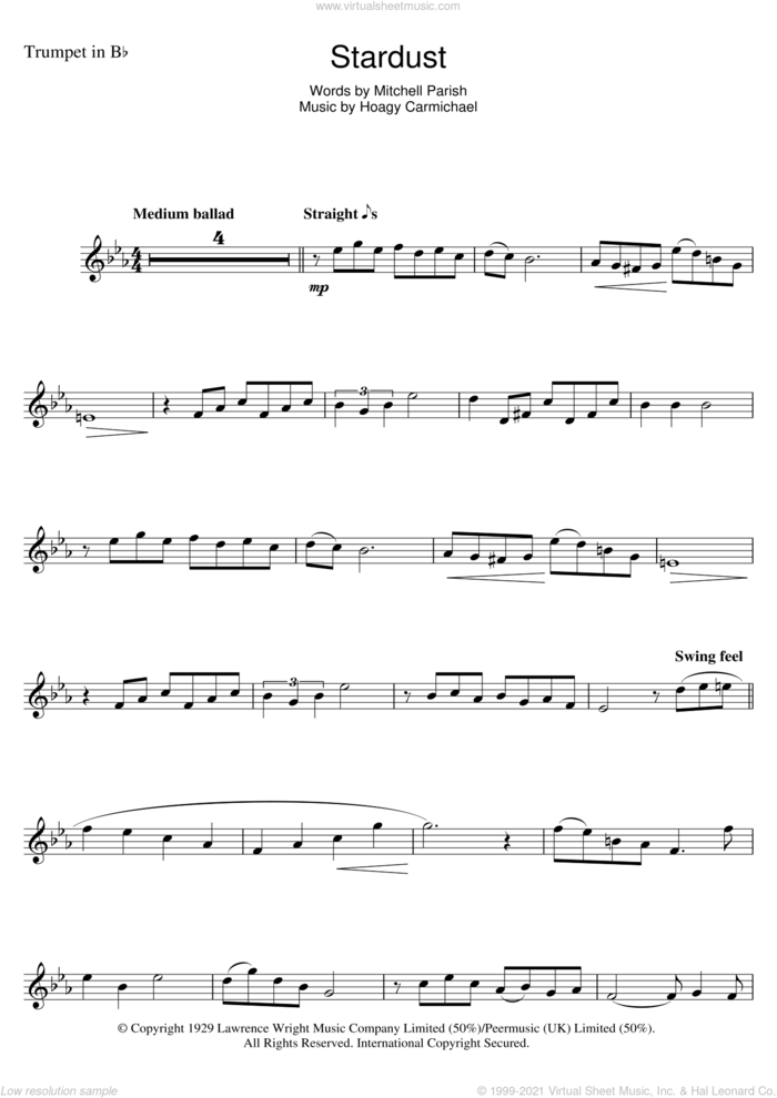 Stardust sheet music for trumpet solo by Hoagy Carmichael and Mitchell Parish, intermediate skill level