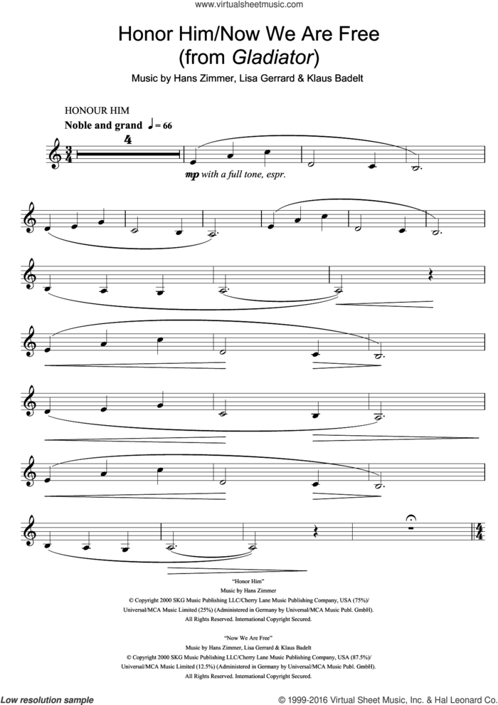 Honor Him/Now We Are Free (from Gladiator) sheet music for clarinet solo by Hans Zimmer, Klaus Badelt and Lisa Gerrard, intermediate skill level
