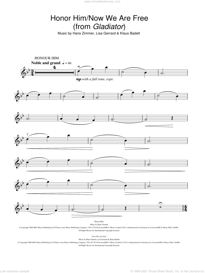 Honor Him/Now We Are Free (from Gladiator) sheet music for violin solo by Hans Zimmer, Klaus Badelt and Lisa Gerrard, intermediate skill level