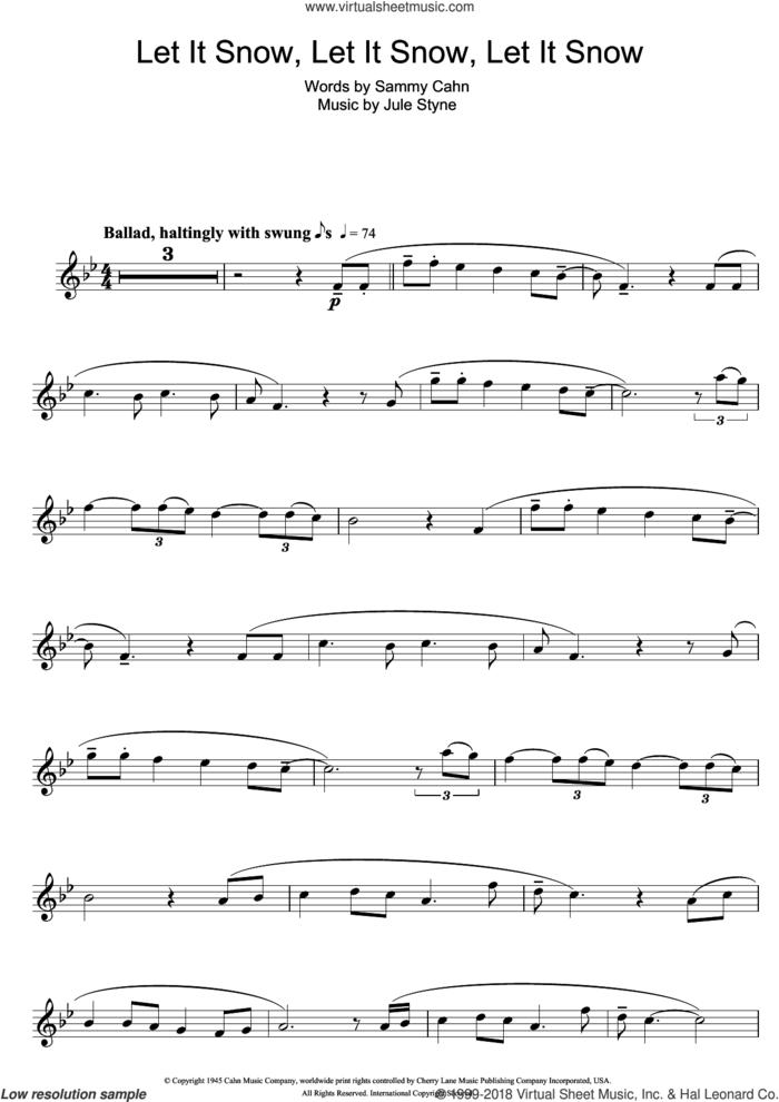 Let It Snow! Let It Snow! Let It Snow! sheet music for flute solo by Doris Day, Jule Styne and Sammy Cahn, intermediate skill level