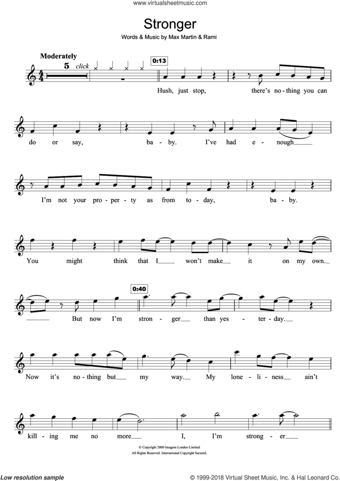Stronger sheet music for flute solo by Britney Spears, Max Martin and Rami, intermediate skill level