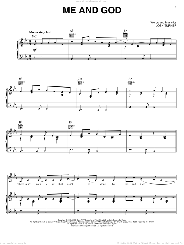Me And God sheet music for voice, piano or guitar by Josh Turner, intermediate skill level