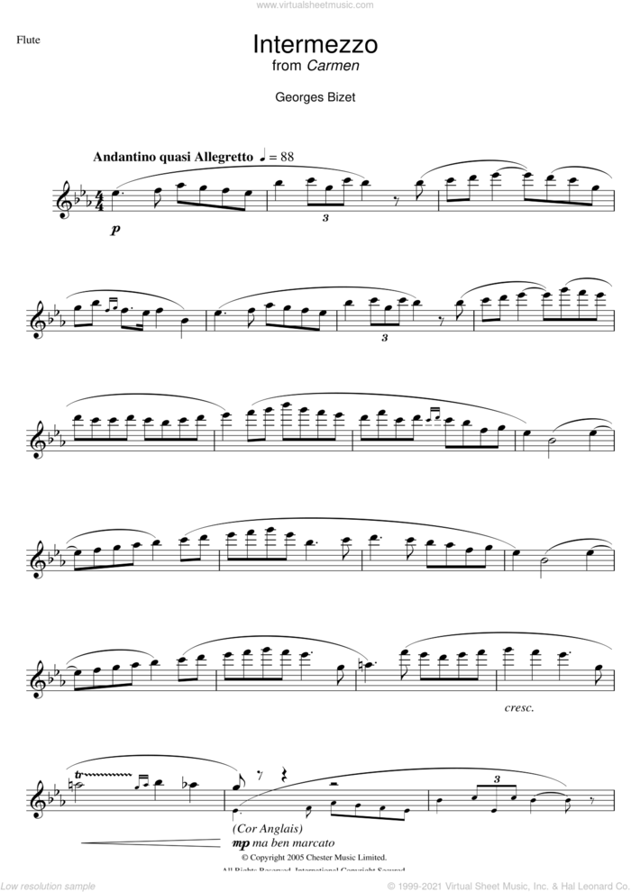 Intermezzo from Carmen Act III sheet music for flute solo by Georges Bizet, classical score, intermediate skill level