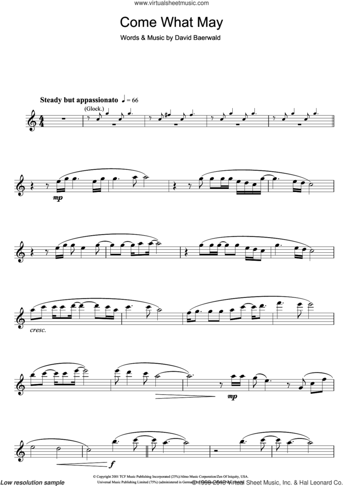 Come What May (from Moulin Rouge) sheet music for flute solo by Nicole Kidman & Ewan McGregor, Ewan McGregor, Nicole Kidman and David Baerwald, intermediate skill level