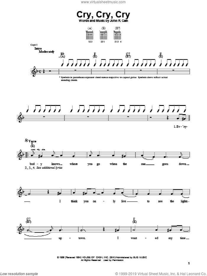 Cry, Cry, Cry sheet music for guitar solo (chords) by Johnny Cash, easy guitar (chords)