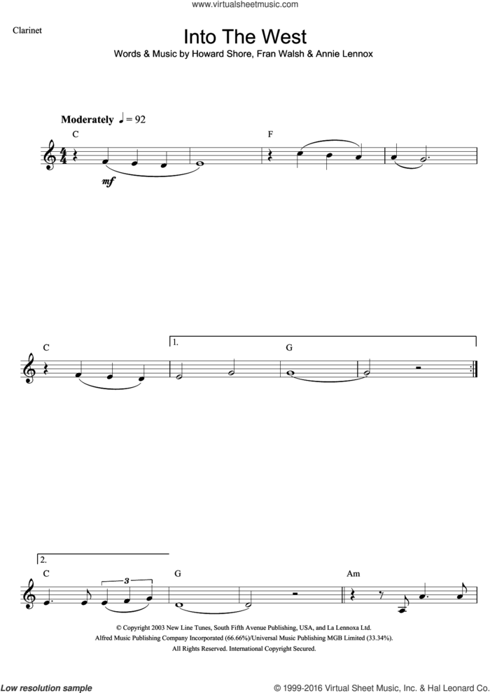 Into The West (from The Lord Of The Rings: The Return Of The King) sheet music for clarinet solo by Annie Lennox, Fran Walsh and Howard Shore, intermediate skill level