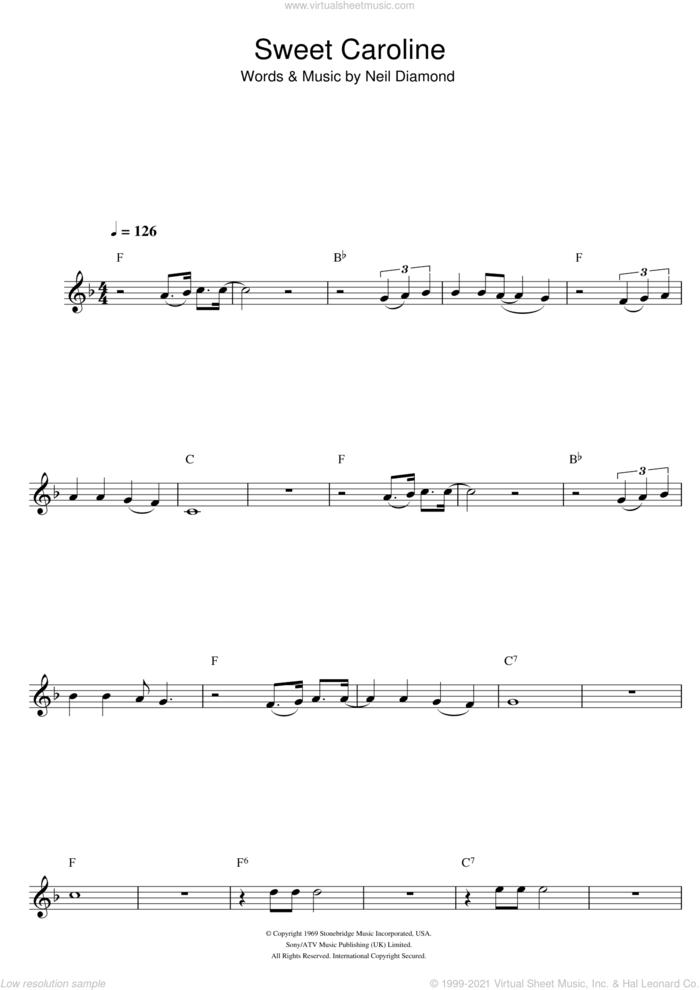 Sweet Caroline sheet music for flute solo by Neil Diamond, intermediate skill level