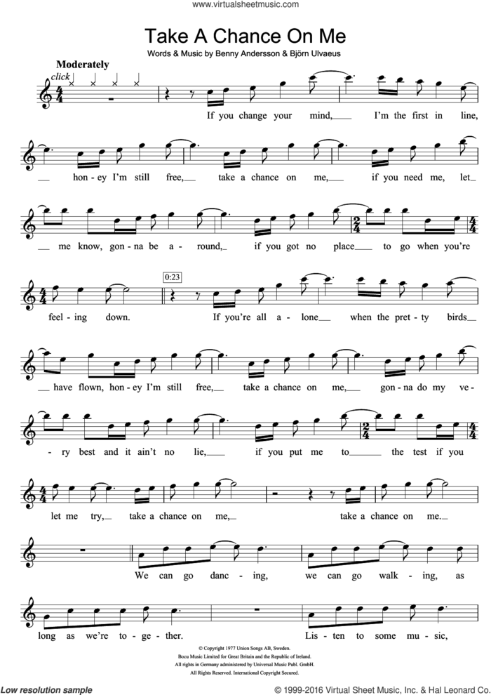 Take A Chance On Me sheet music for flute solo by ABBA, Benny Andersson and Bjorn Ulvaeus, intermediate skill level