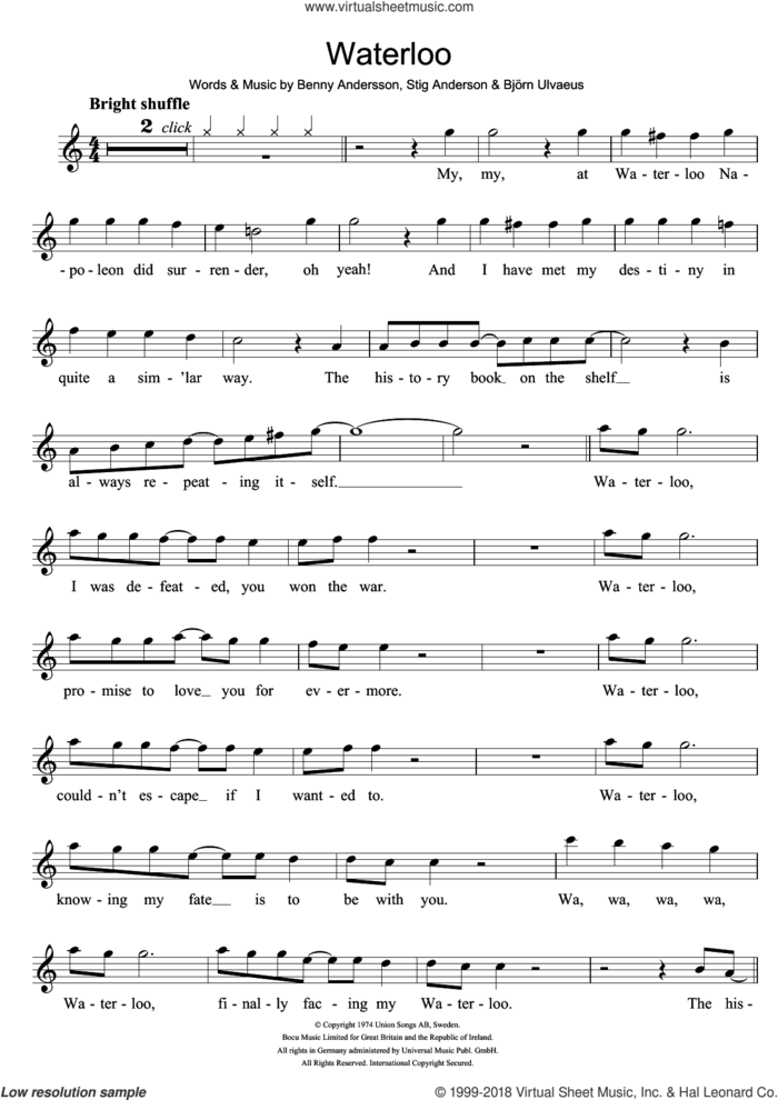 Waterloo sheet music for flute solo by ABBA, Benny Andersson, Bjorn Ulvaeus and Stig Anderson, intermediate skill level