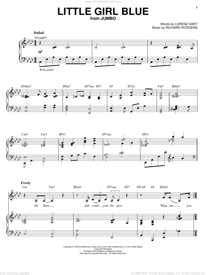 Little Girl Blue sheet music for voice and piano by Diana Krall, Rodgers & Hart, Lorenz Hart and Richard Rodgers, intermediate skill level