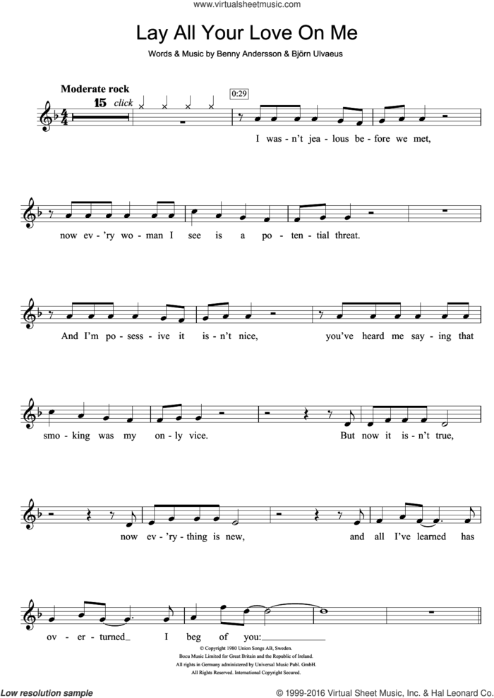 Lay All Your Love On Me sheet music for violin solo by ABBA, Benny Andersson and Bjorn Ulvaeus, intermediate skill level