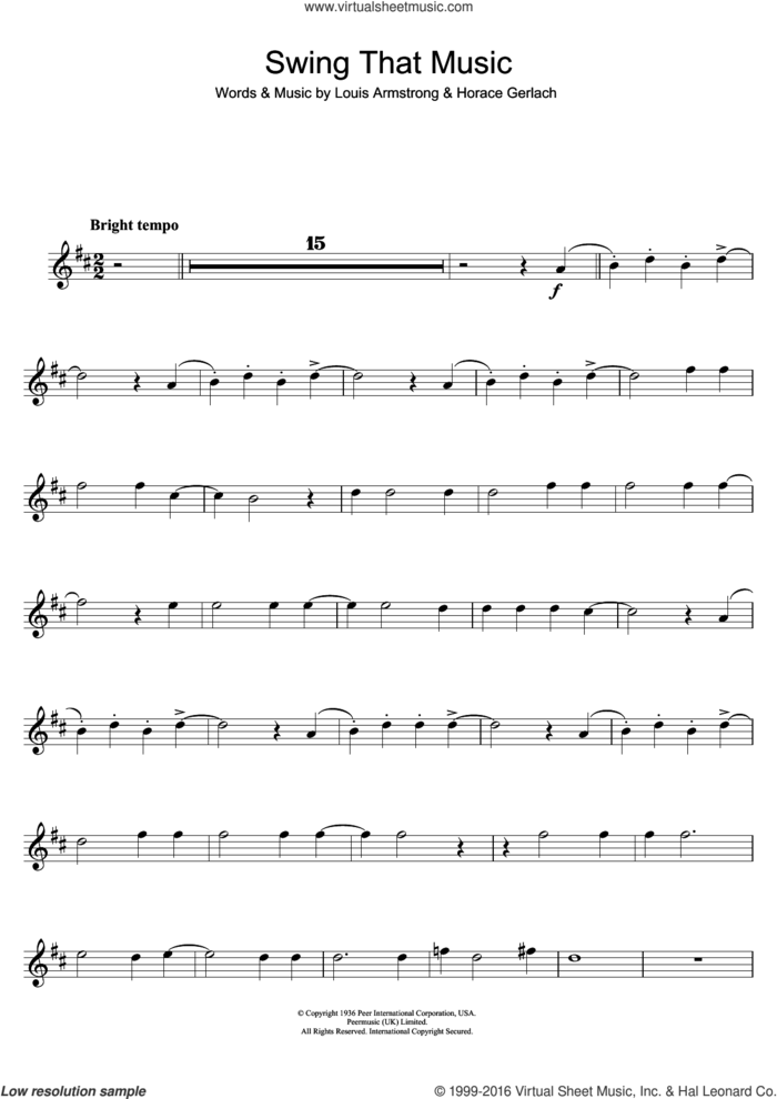 Swing That Music sheet music for tenor saxophone solo by Louis Armstrong and Horace Gerlach, intermediate skill level