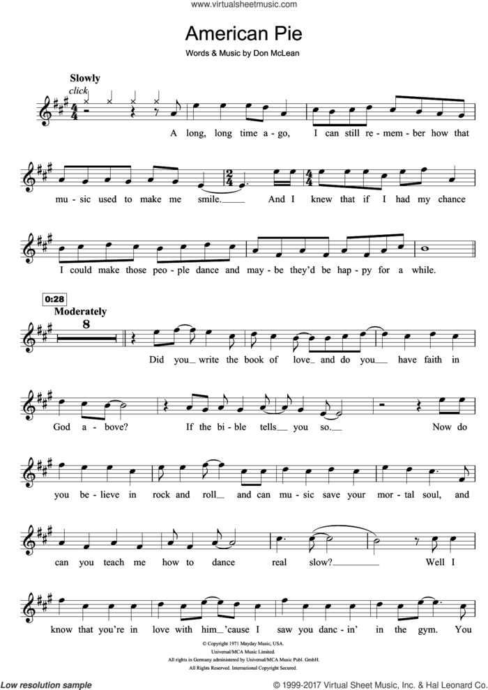 American Pie sheet music for clarinet solo by Madonna and Don McLean, intermediate skill level