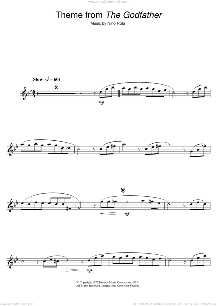 Theme from The Godfather sheet music for clarinet solo by Nino Rota, intermediate skill level