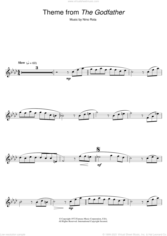 Theme from The Godfather sheet music for flute solo by Nino Rota, intermediate skill level
