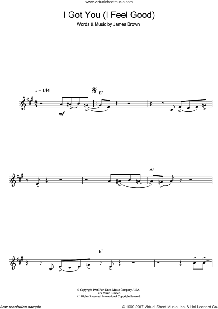 I Got You (I Feel Good) sheet music for clarinet solo by James Brown, intermediate skill level