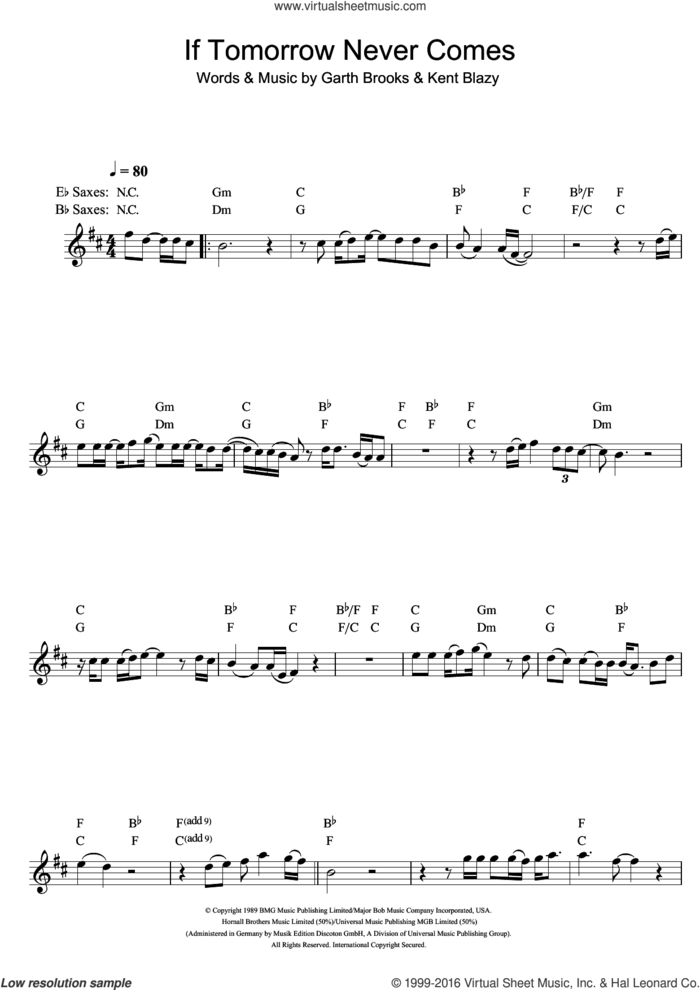 If Tomorrow Never Comes sheet music for saxophone solo by Ronan Keating, Garth Brooks and Kent Blazy, intermediate skill level