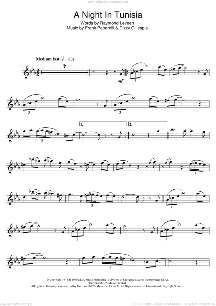 A Night In Tunisia sheet music for flute solo by Dizzy Gillespie, Frank Paparelli and Raymond Leveen, intermediate skill level