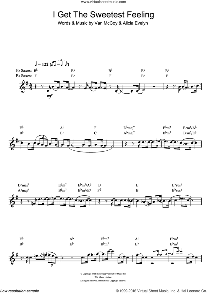 I Get The Sweetest Feeling sheet music for saxophone solo by Jackie Wilson, Alicia Evelyn and Van McCoy, intermediate skill level
