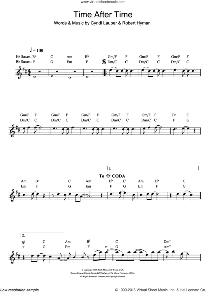 Time After Time sheet music for saxophone solo by Cyndi Lauper and Rob Hyman, intermediate skill level