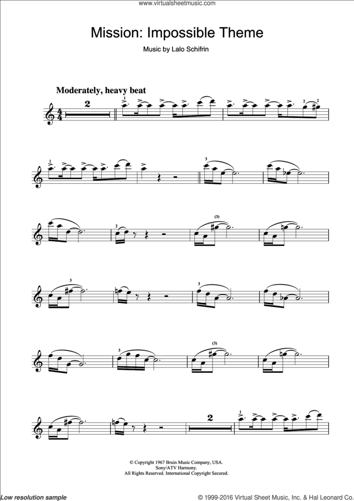 Mission: Impossible Theme (Mission Accomplished) sheet music for violin solo by Lalo Schifrin and Fed Milano, intermediate skill level