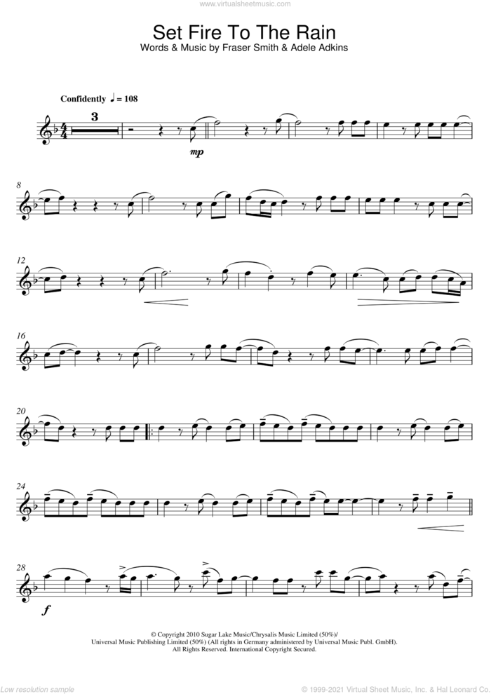 Set Fire To The Rain sheet music for flute solo by Adele and Fraser T. Smith, intermediate skill level