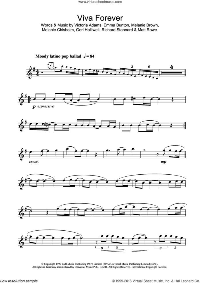 Viva Forever sheet music for clarinet solo by Spice Girls, Chisholm Melanie, Emma Bunton, Geri Halliwell, Matt Rowe, Melanie Brown, Richard Stannard and Victoria Adams, intermediate skill level