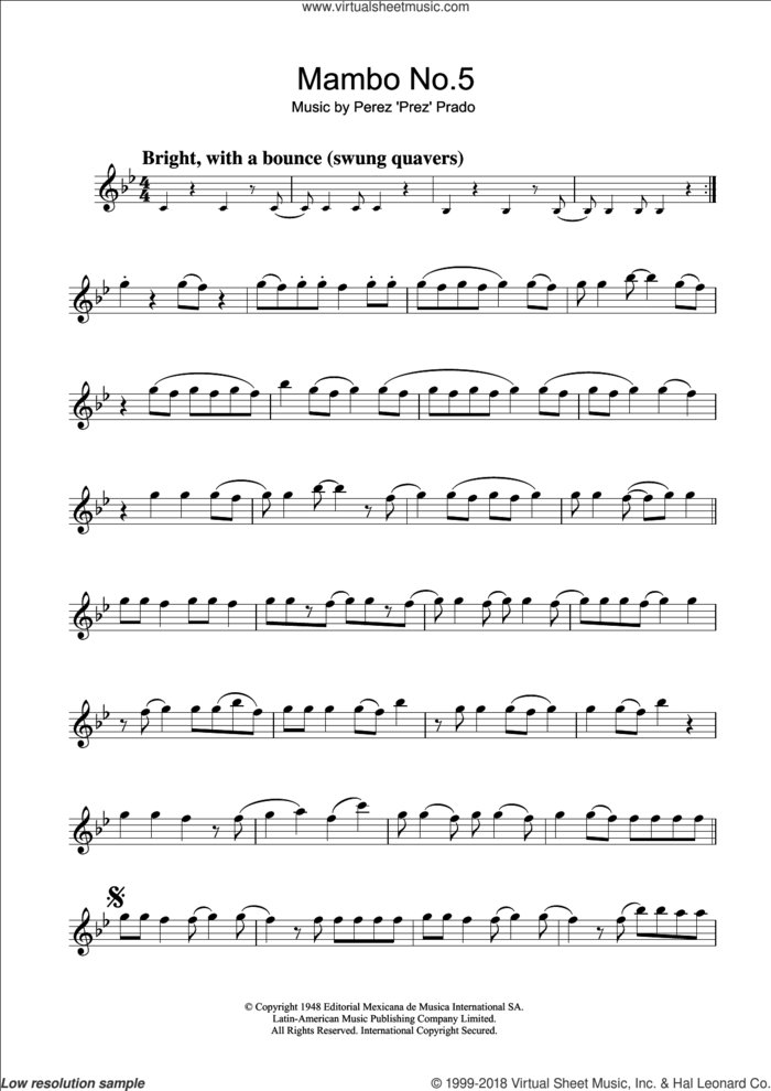 Mambo No. 5 sheet music for flute solo by Perez Prado, intermediate skill level