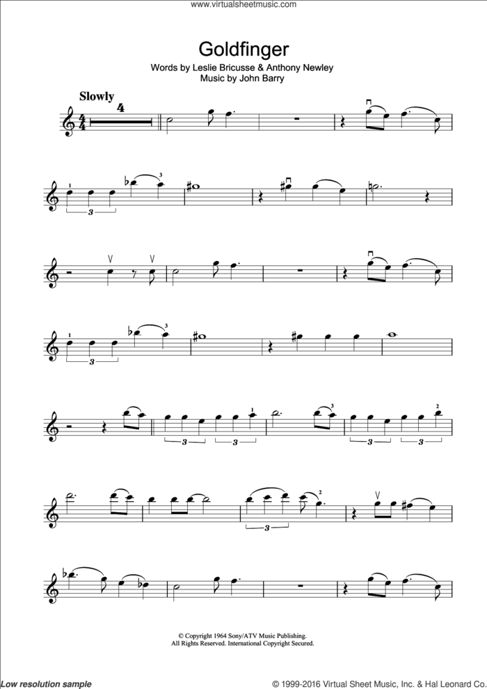 Goldfinger sheet music for violin solo by Shirley Bassey, Anthony Newley, John Barry and Leslie Bricusse, intermediate skill level