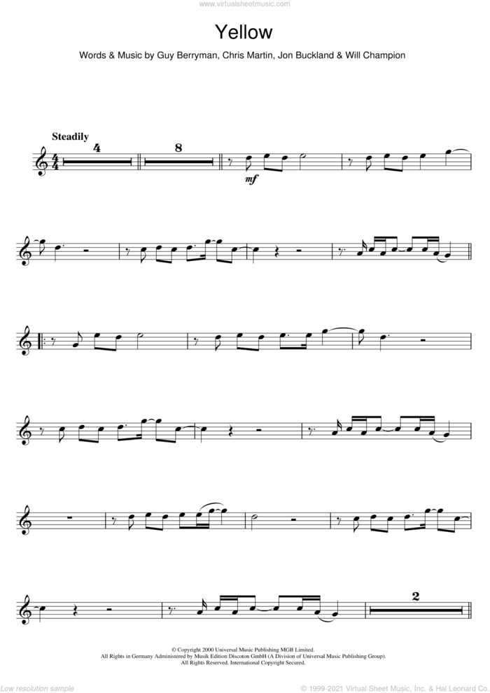 Yellow sheet music for flute solo by Coldplay, Chris Martin, Guy Berryman, Jonny Buckland and Will Champion, intermediate skill level