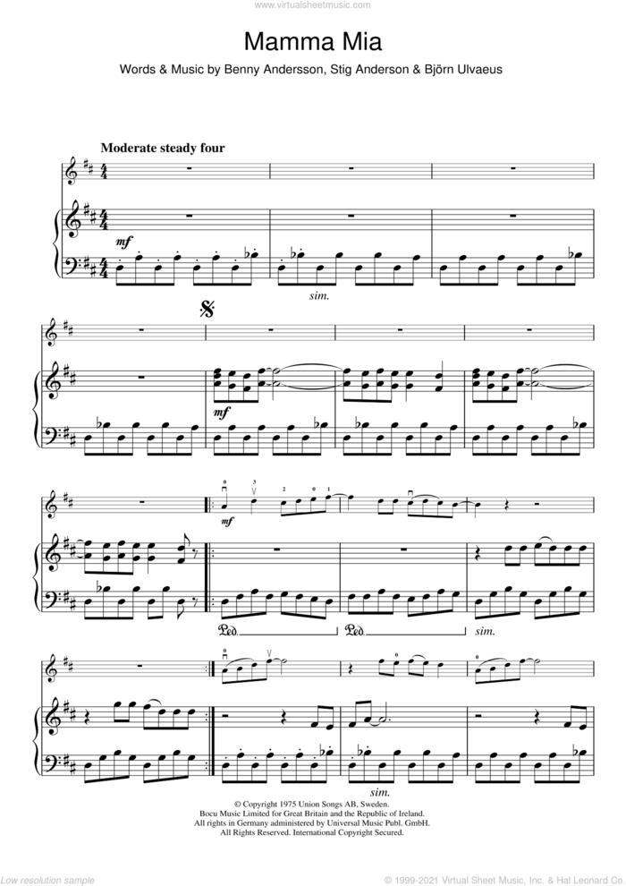 Mamma Mia sheet music for violin solo by ABBA, Benny Andersson, Bjorn Ulvaeus and Stig Anderson, intermediate skill level