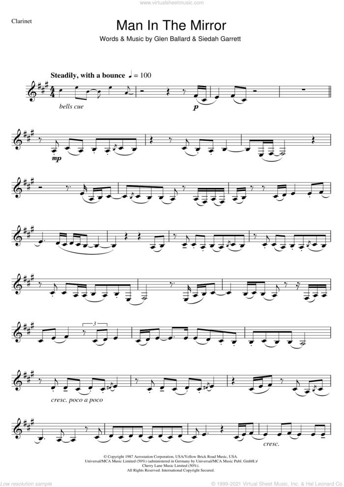 Man In The Mirror sheet music for clarinet solo by Michael Jackson, Glen Ballard and Siedah Garrett, intermediate skill level