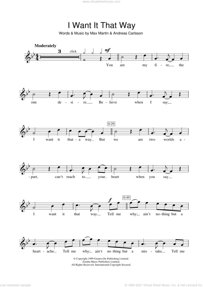I Want It That Way sheet music for flute solo by Backstreet Boys, Andreas Carlsson and Max Martin, intermediate skill level