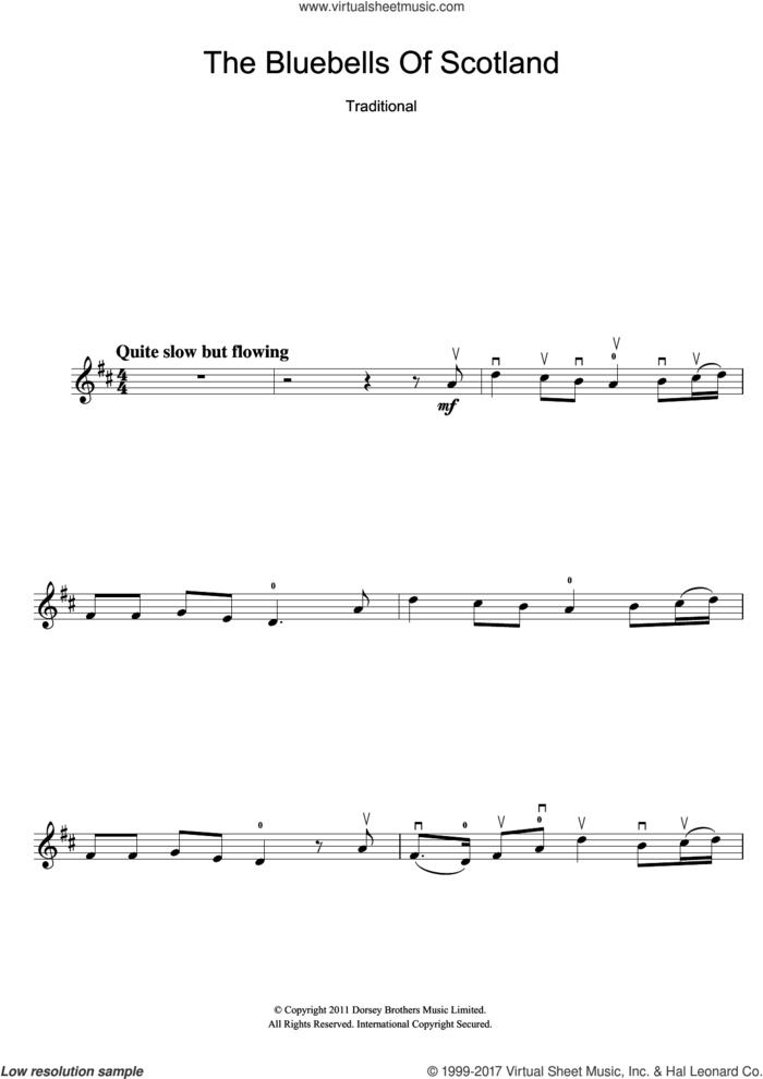 The Bluebells Of Scotland sheet music for violin solo, intermediate skill level