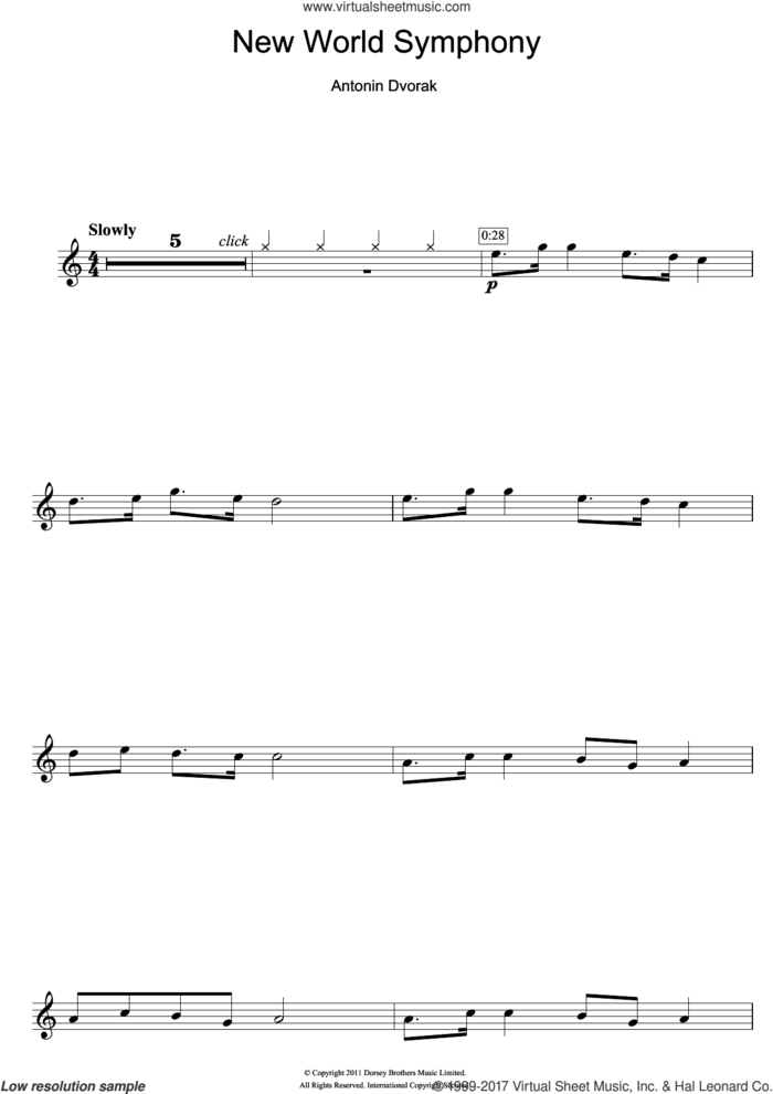 Largo (from The New World) sheet music for flute solo by Antonin Dvorak and Antonin Dvorak, classical score, intermediate skill level