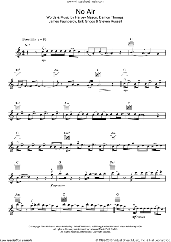 No Air sheet music for violin solo by Jordin Sparks, Damon Thomas, Erik Griggs, Harvey Mason, James Fauntleroy and Steven Russell, intermediate skill level