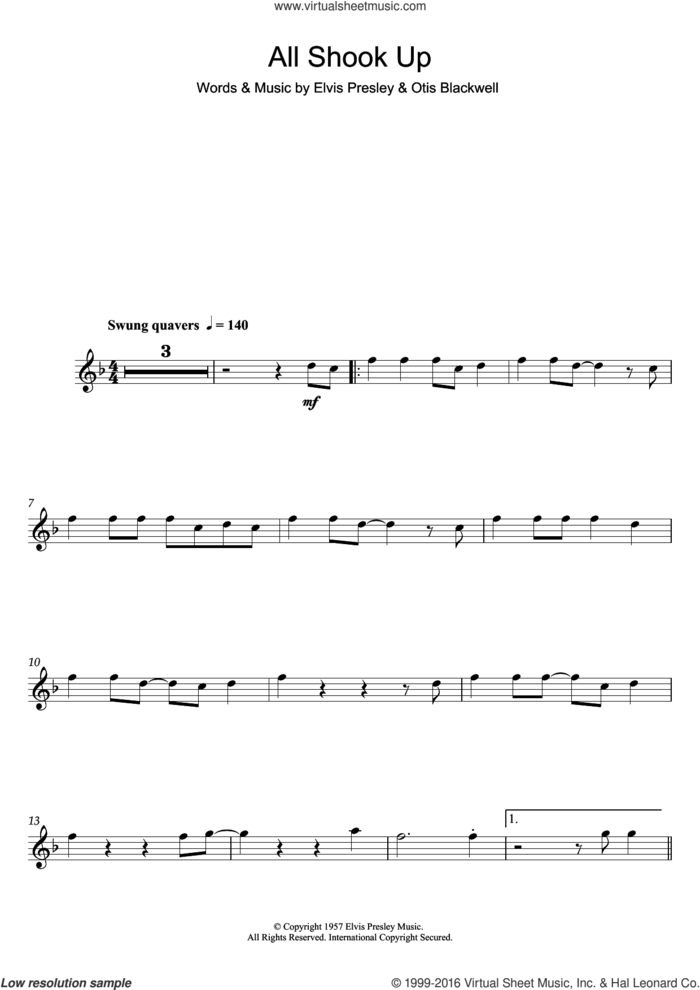 All Shook Up sheet music for flute solo by Elvis Presley and Otis Blackwell, intermediate skill level